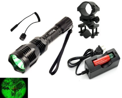 WindFire® [A Complete Set] WF-802 350 Lumens Waterproof 18650 Battery Tactical Flashlight 250 Yard Long Range